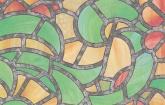 Zöld-sárga ólomüveg üvegfólia (45 cm x 15 m)